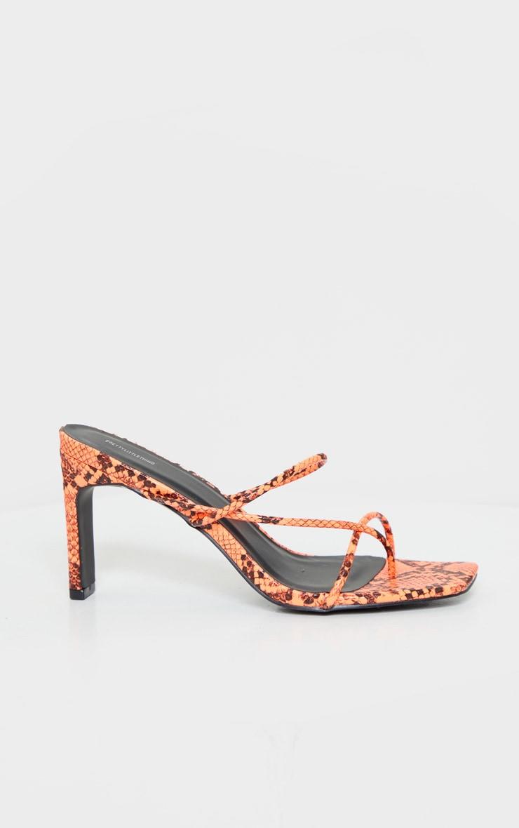 Orange Triple Strap Flat Heel Toe Thong Square Toe Mule 4