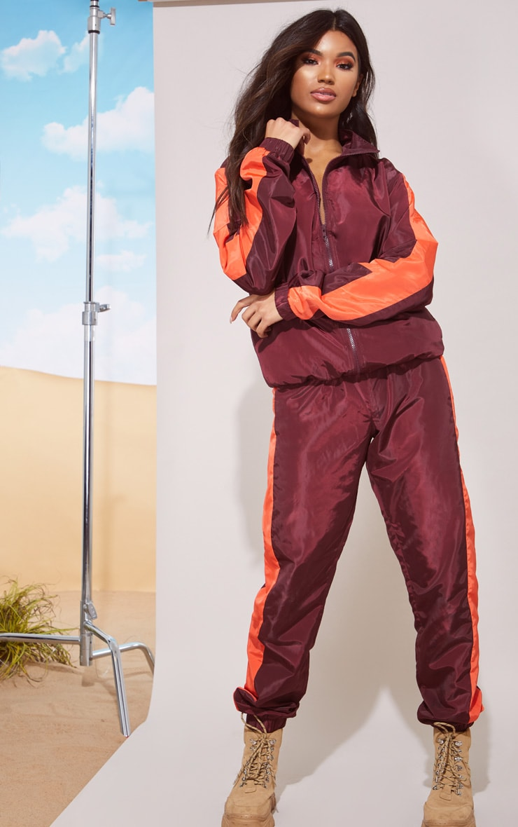 Maroon Stripe Shell Jacket 5