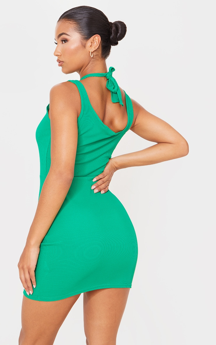 Green  Ribbed Crossed Strap Detail Bodycon Dress 2
