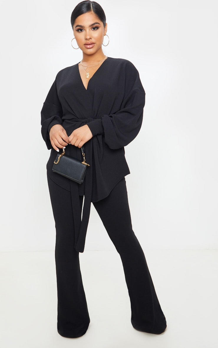 Petite Black Crepe Flared Trousers  1