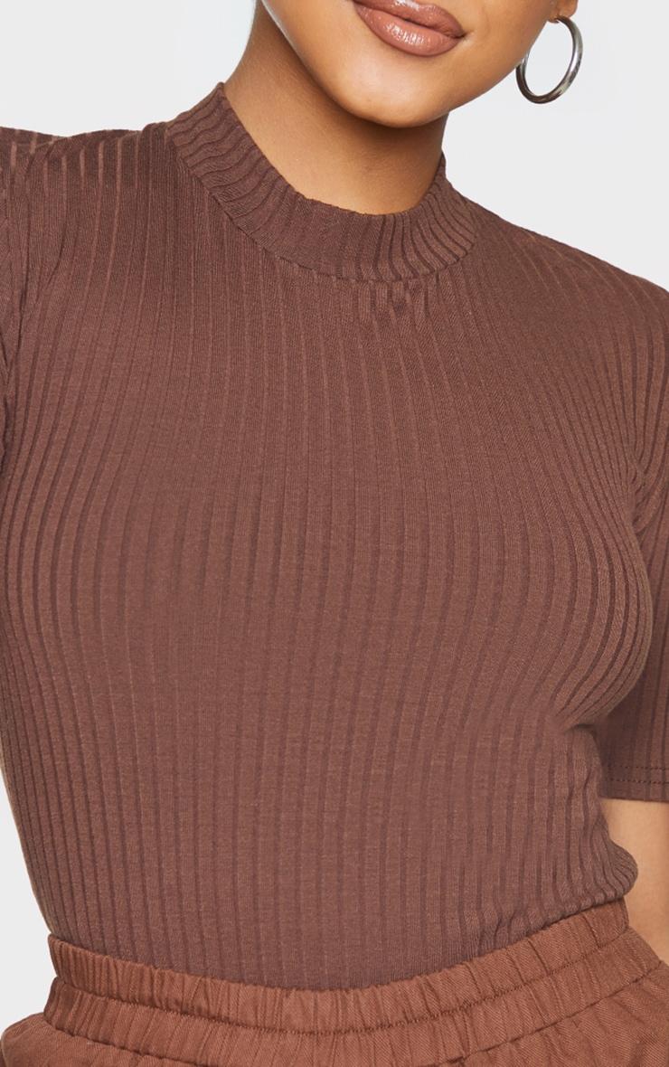 Chocolate Marl Rib Short Sleeve Bodysuit 4