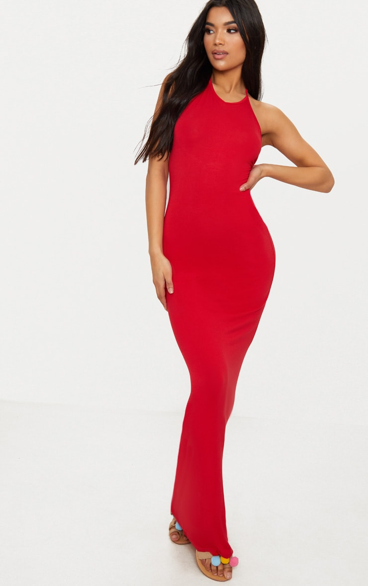 Red Basic Halterneck Maxi Dress 1