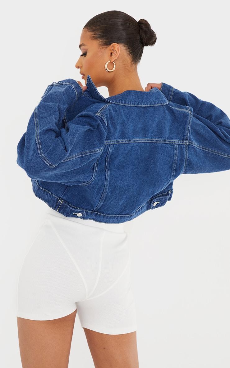PRETTYLITTLETHING - Veste en jean indigo courte  2