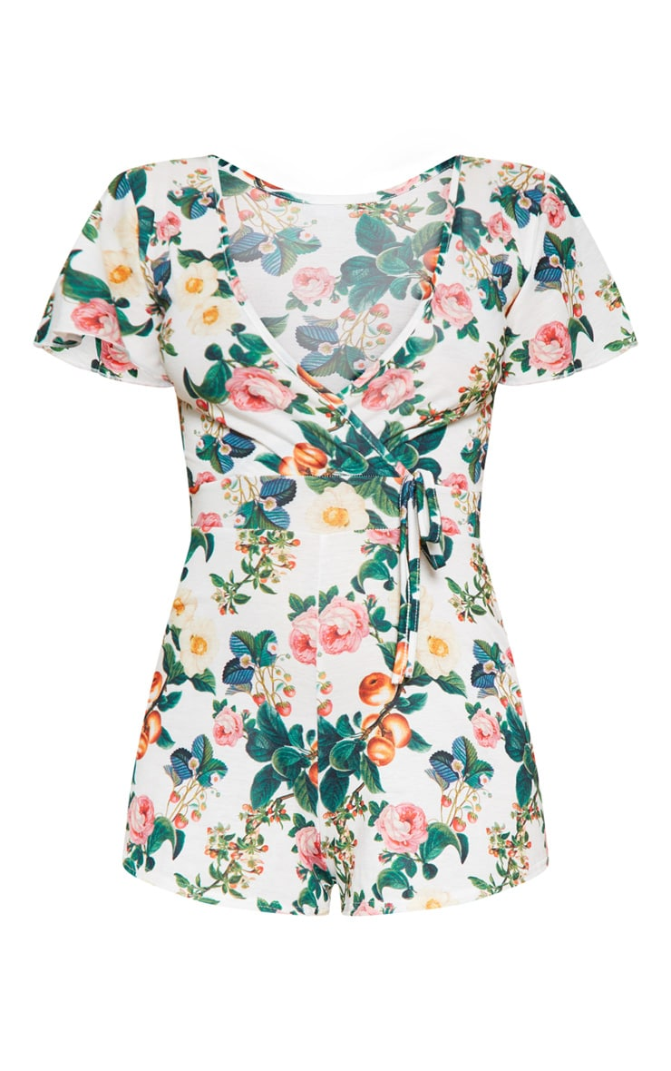 White Floral Print Short Sleeve Playsuit 3