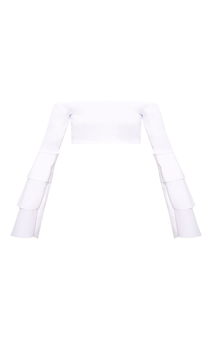 White Frill Sleeve Crop Top  3