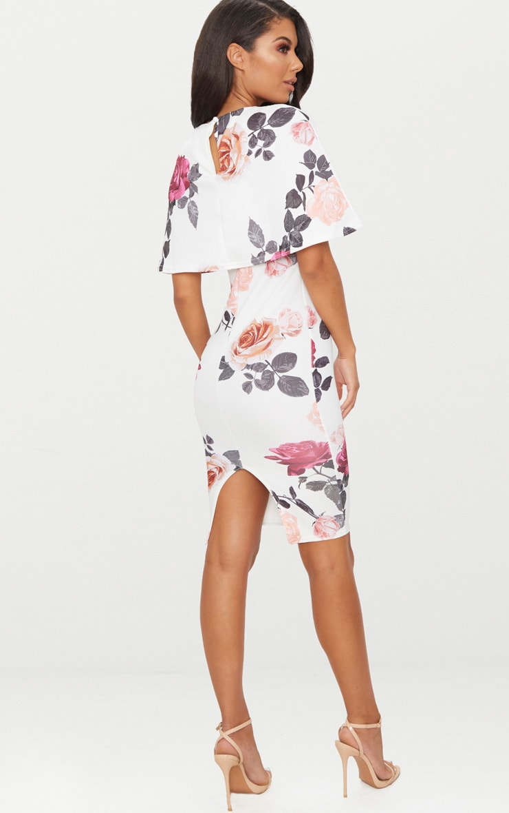 White Floral Print Cape Detail Midi Dress 2