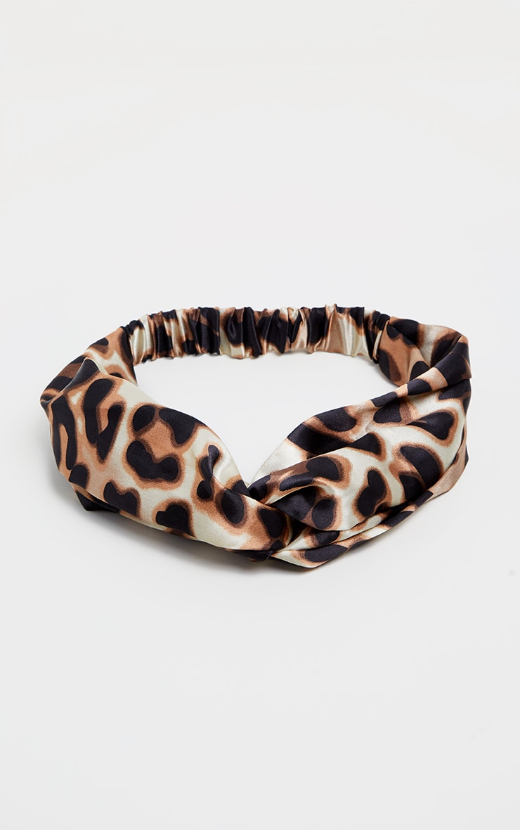 Leopard Satin Twisted Head Band 2