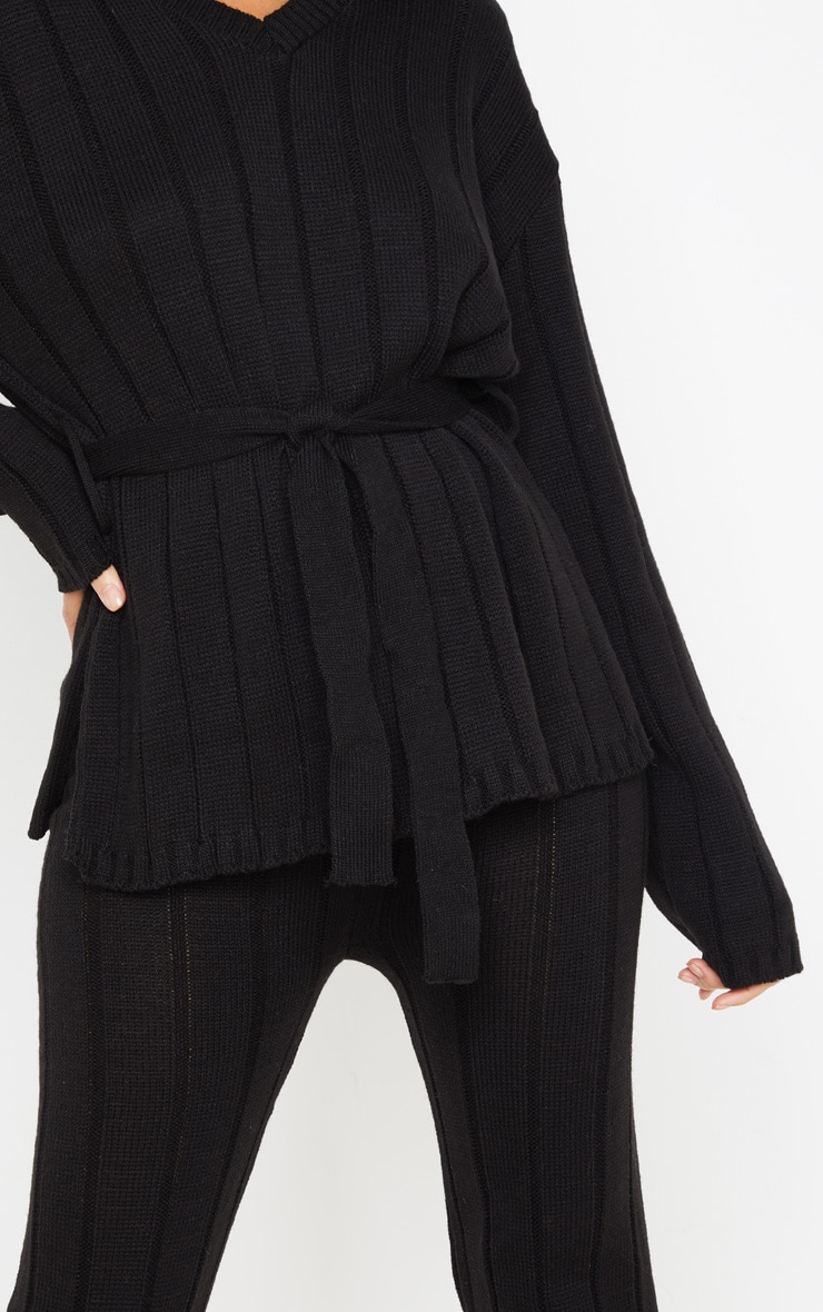 Black Belted Longline Sweater And Legging Lounge Set 5