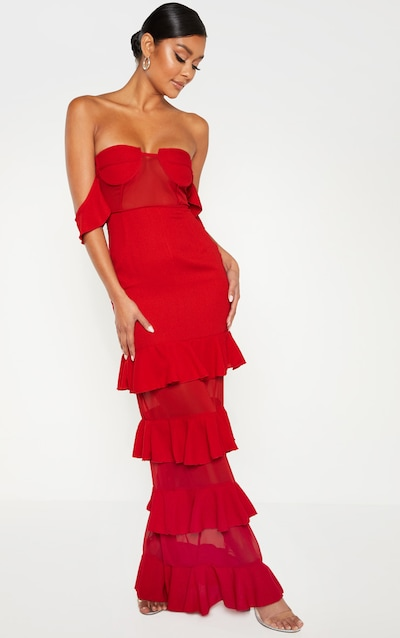 ff8d95801a8 Red Structured Bodice Ruffle Detail Maxi Dress