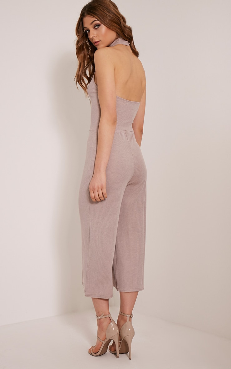Marcie Taupe High Neck Low Back Culotte Jumpsuit 4