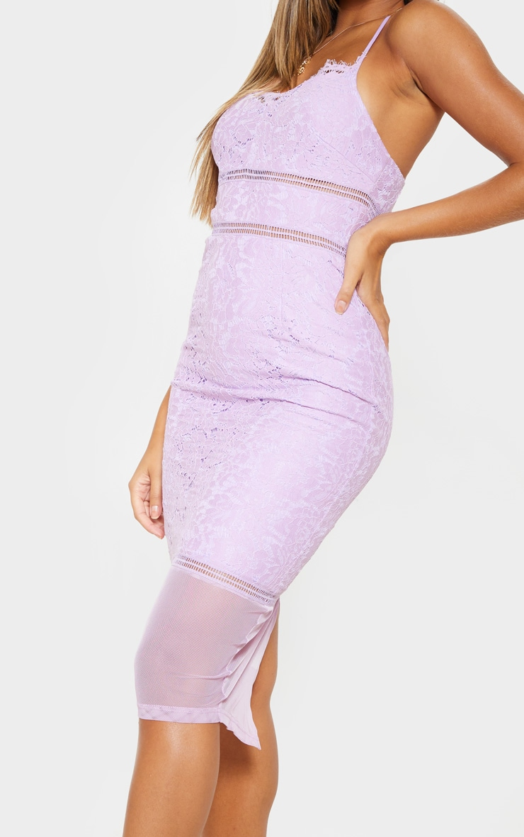 Lilac Lace Cross Back Strappy Midi Dress 5