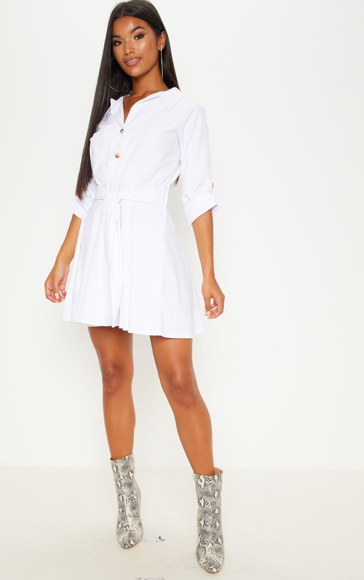 White Tortoise Shell Button Front Shirt Dress 4