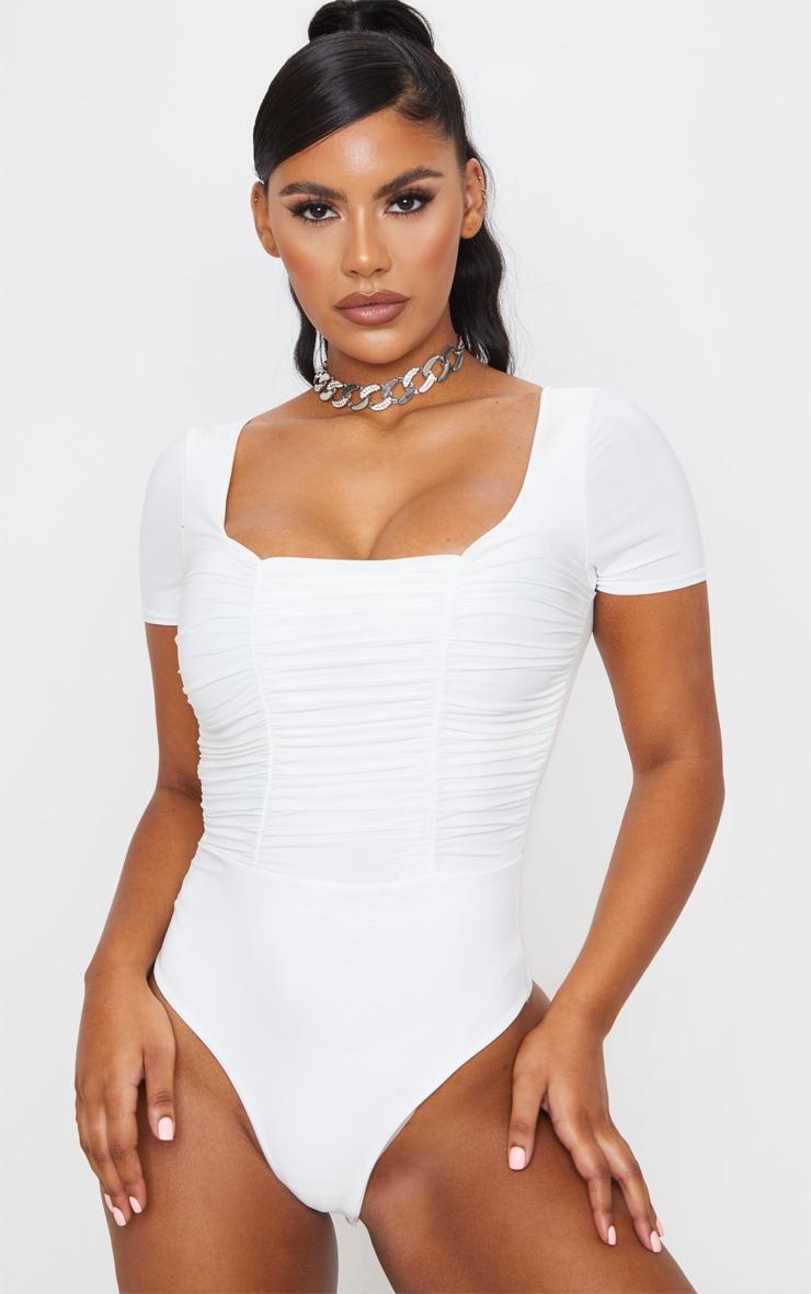 Cream Slinky Ruched Panelled Short Sleeve Bodysuit 2
