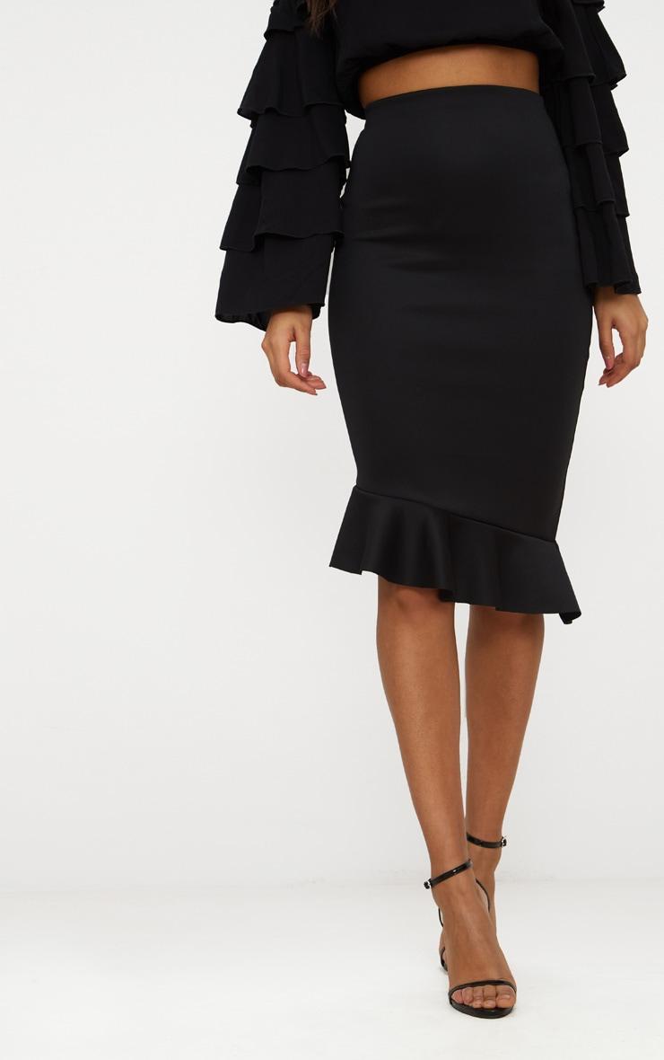 Black Scuba Asymmetrical Frill Hem Skirt 2