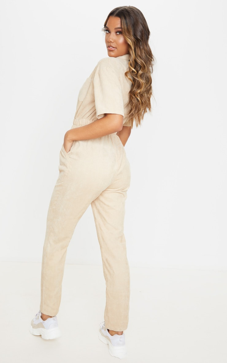 Stone Cord Zip Through Short Sleeve Jumpsuit 3