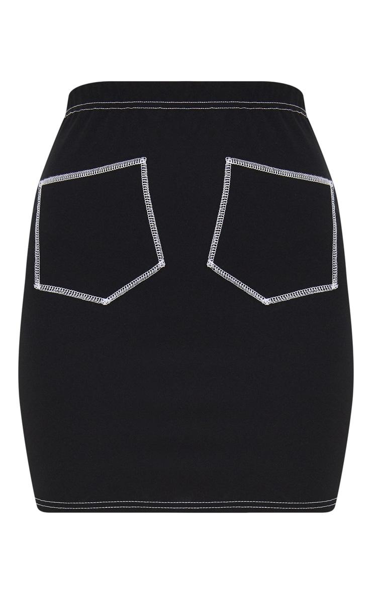 Black Contrast Stitch Pocket Front Mini Skirt 3