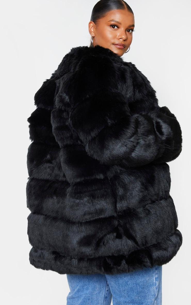 Plus Black Faux Fur Bubble Coat 2