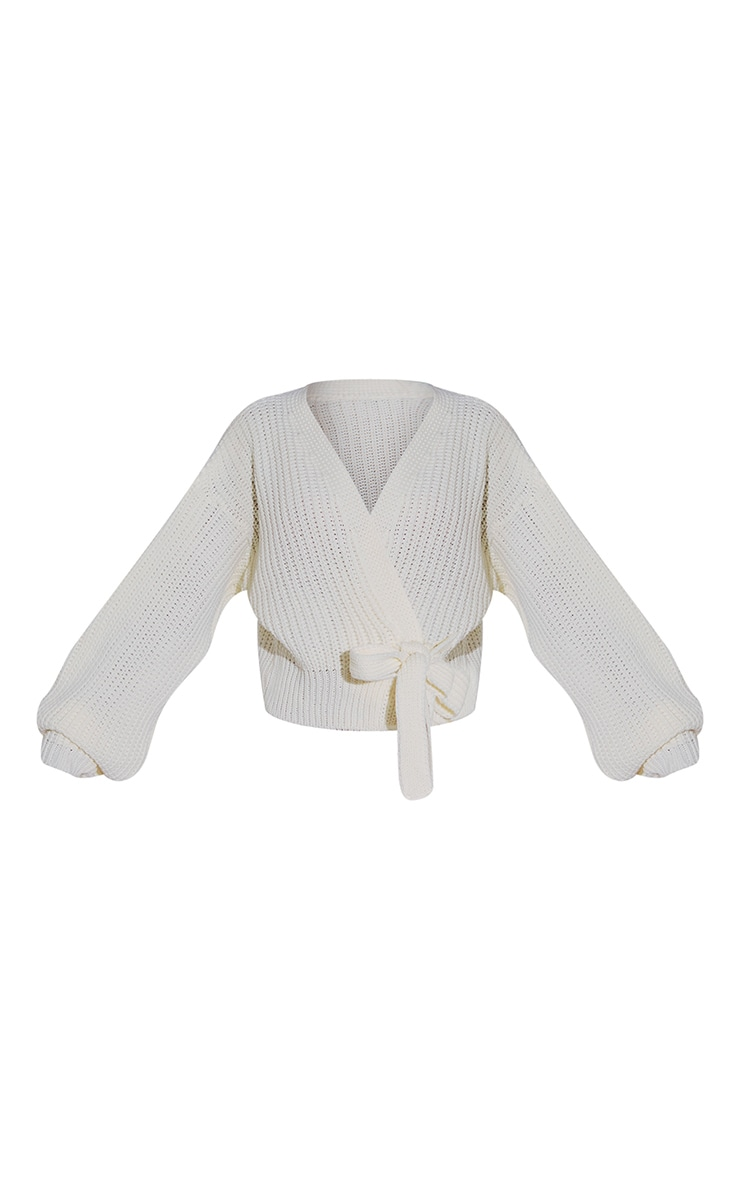 Cream Chunky Tie Waist Belted Cardigan 5
