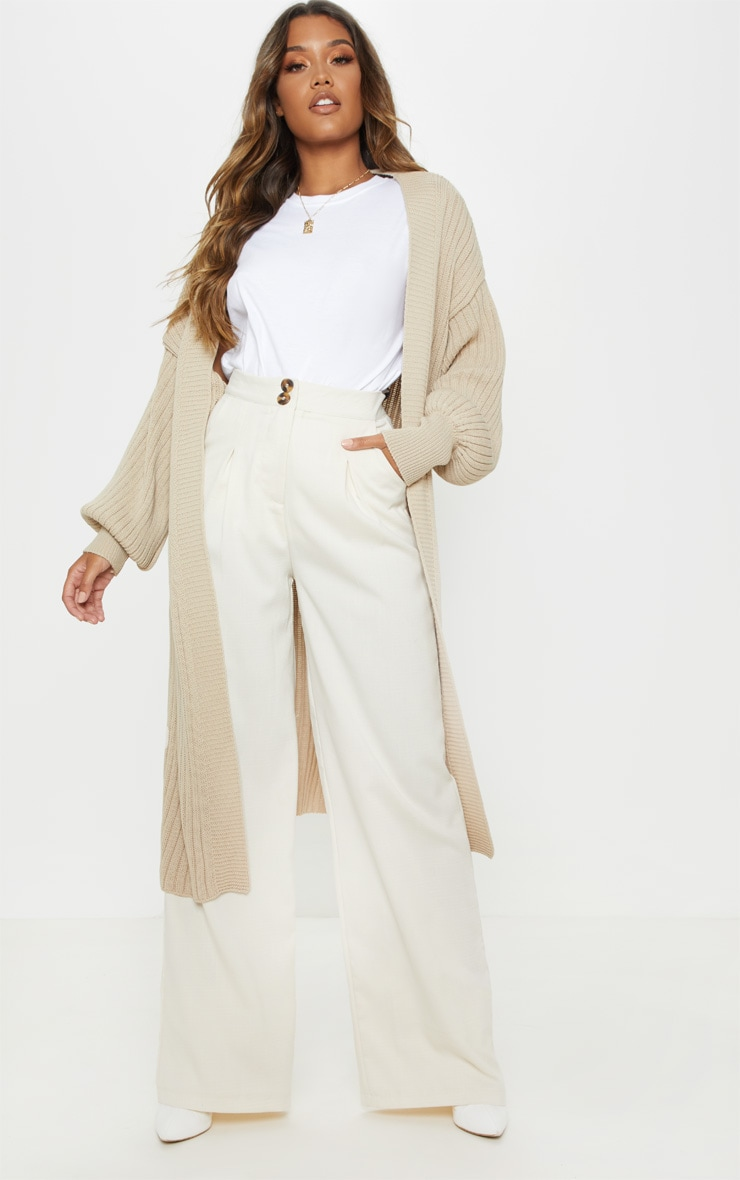 Stone Ribbed Knitted Midi Cardigan 1