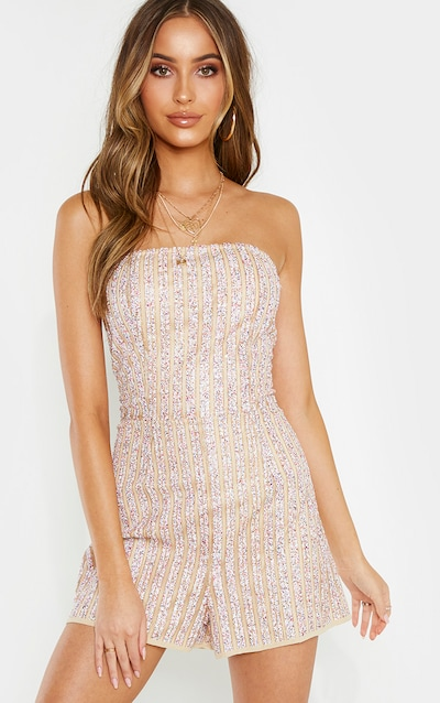 White Bandeau Multi Sequin Stripe Playsuit