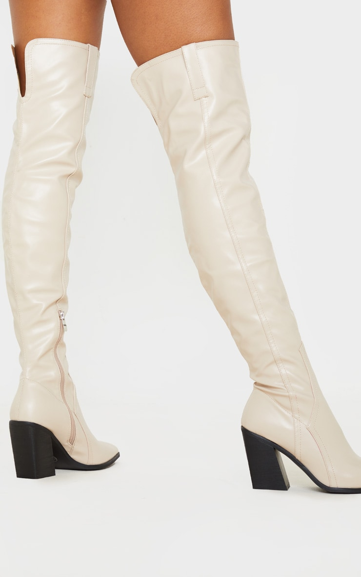 Nude Block Heel Thigh High Western Boot 1