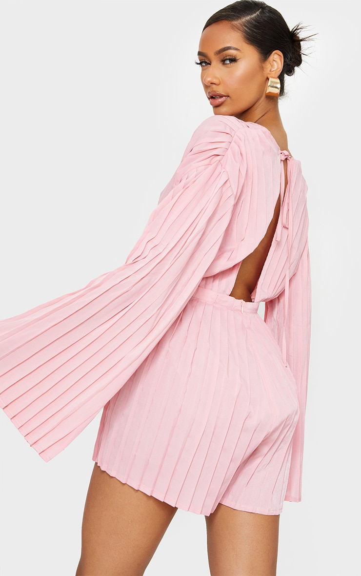 Dusty Pink Satin Plunge Pleated Playsuit 2