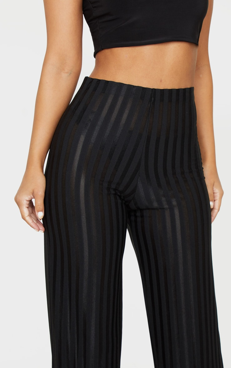 Petite Black Satin Stripe Wide Leg Pants 5