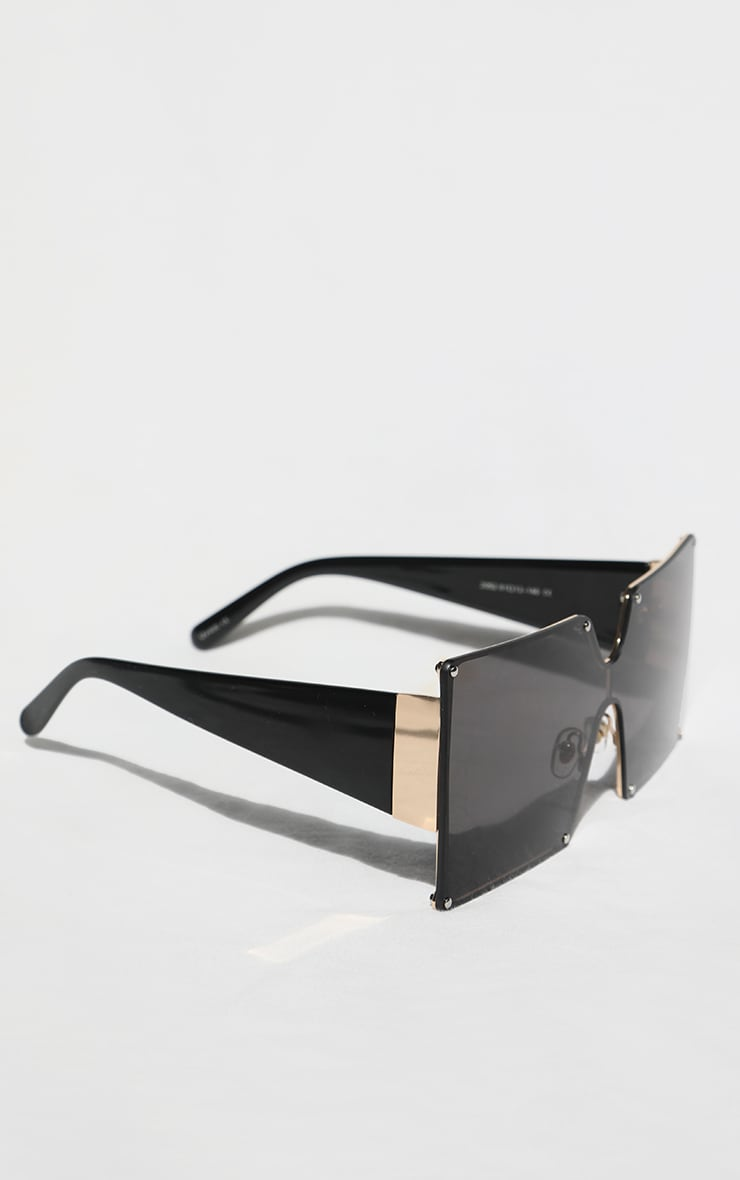 Black Square Lens Oversized Sunglasses 2