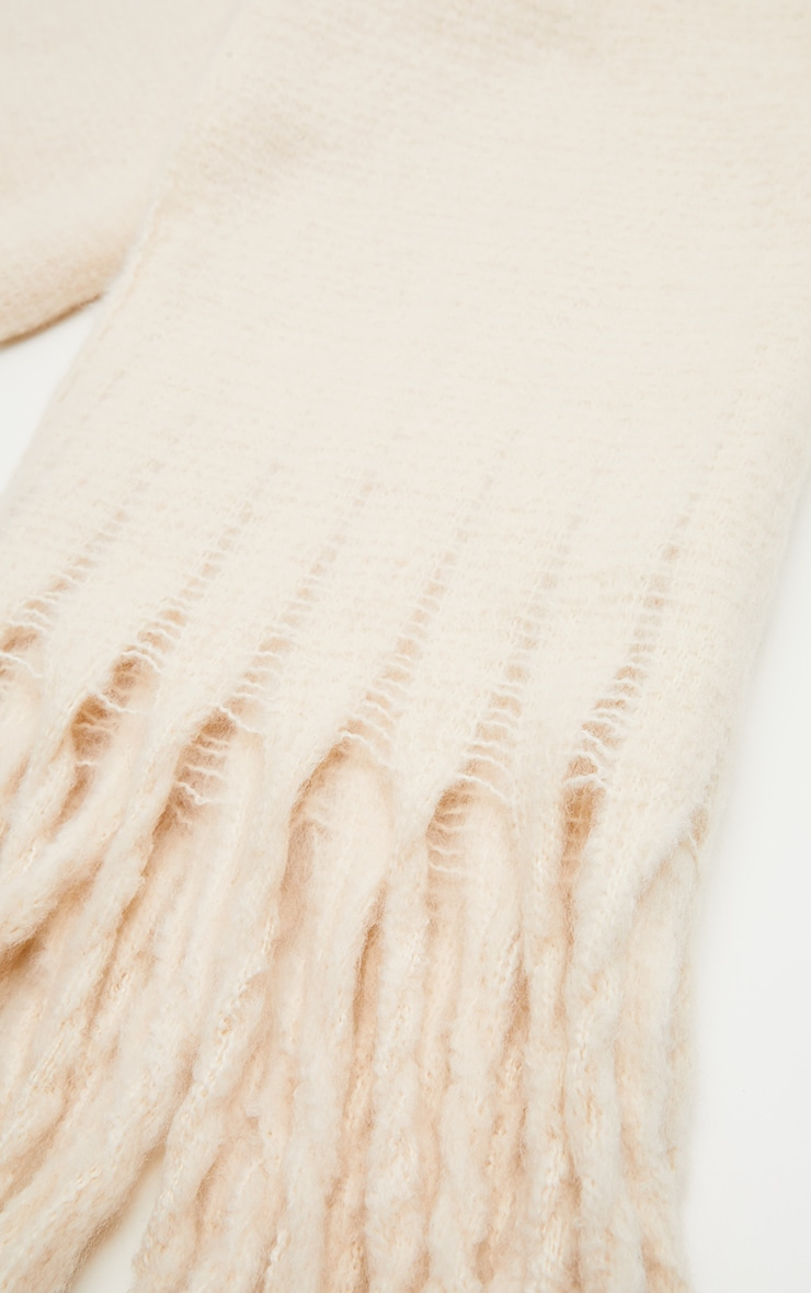 Cream Plain Oversized Scarf 3