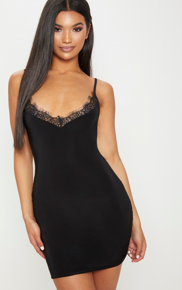 Black Strappy Lace Insert Bodycon Dress 1