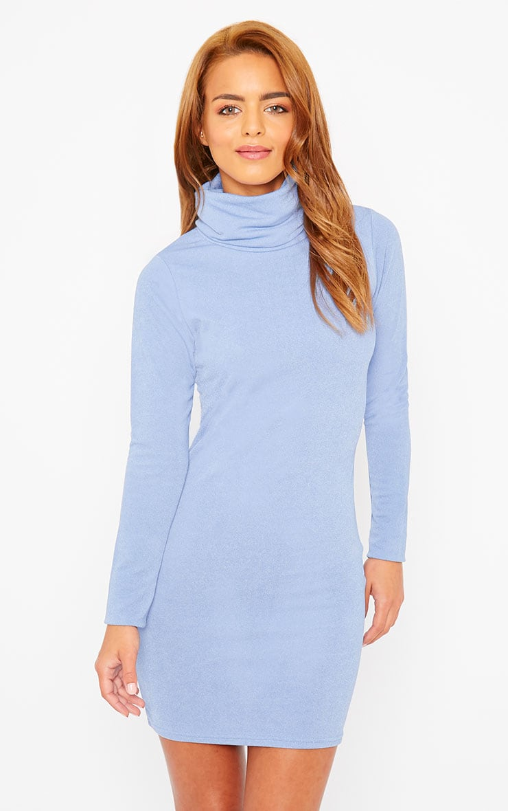Catrina Powder Blue Roll Neck Dress 4