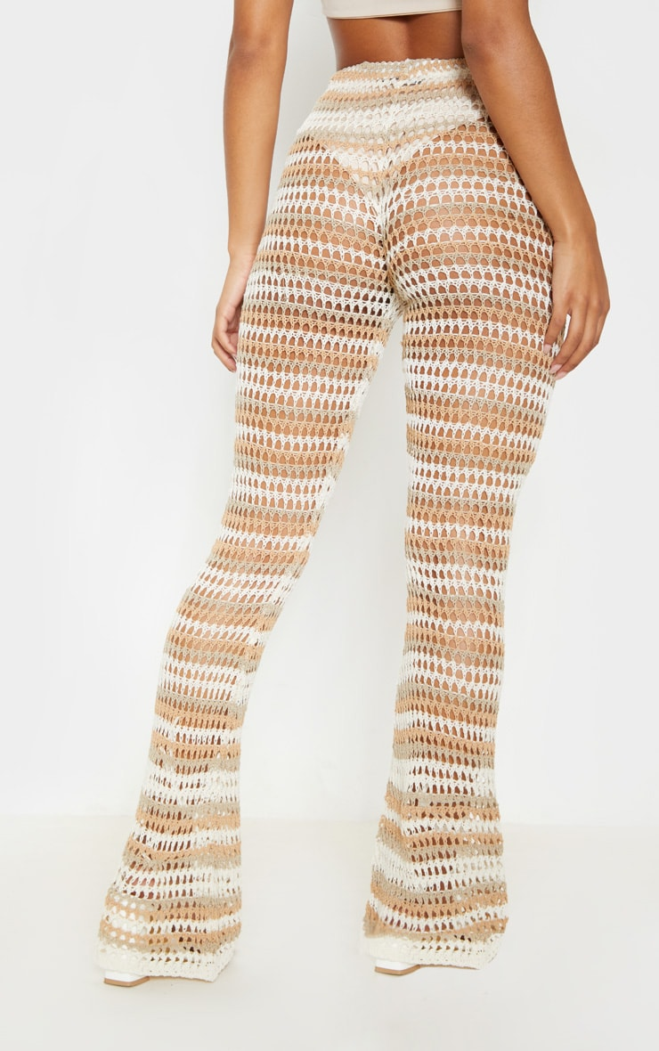 Stone Crochet Stripe Knitted Pants 4
