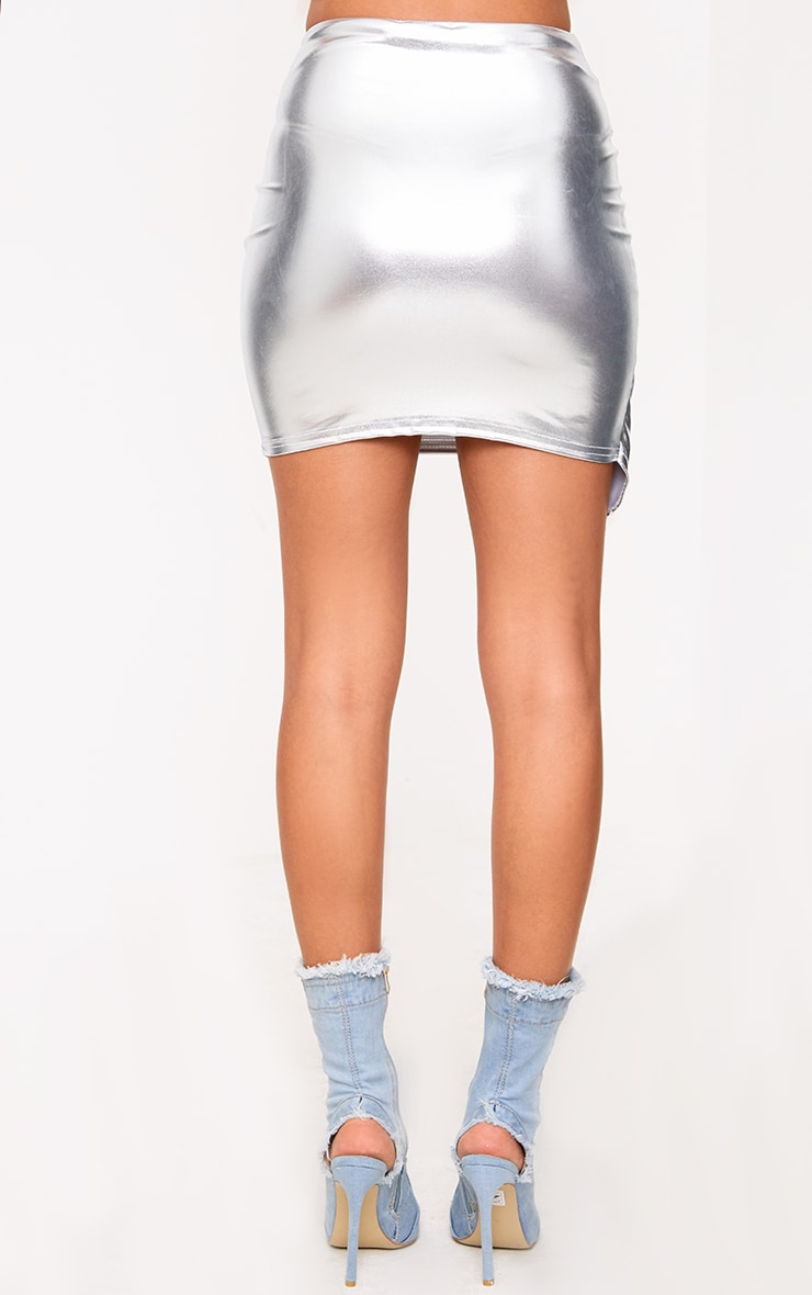 Silver Metalllic Ring Zip Mini Skirt 4