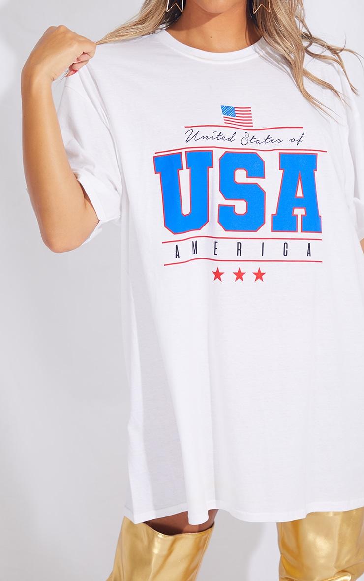 White Printed USA T Shirt Dress 4