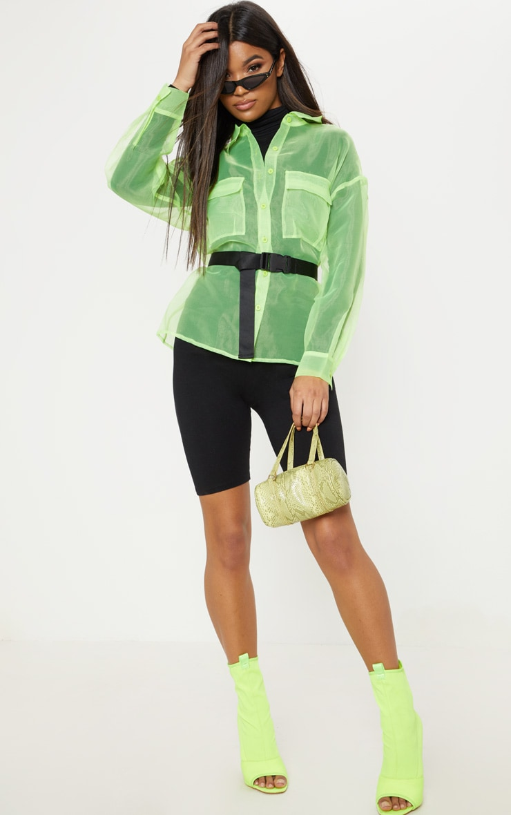 Lime Organza Pocket Detail Oversized Shirt 4