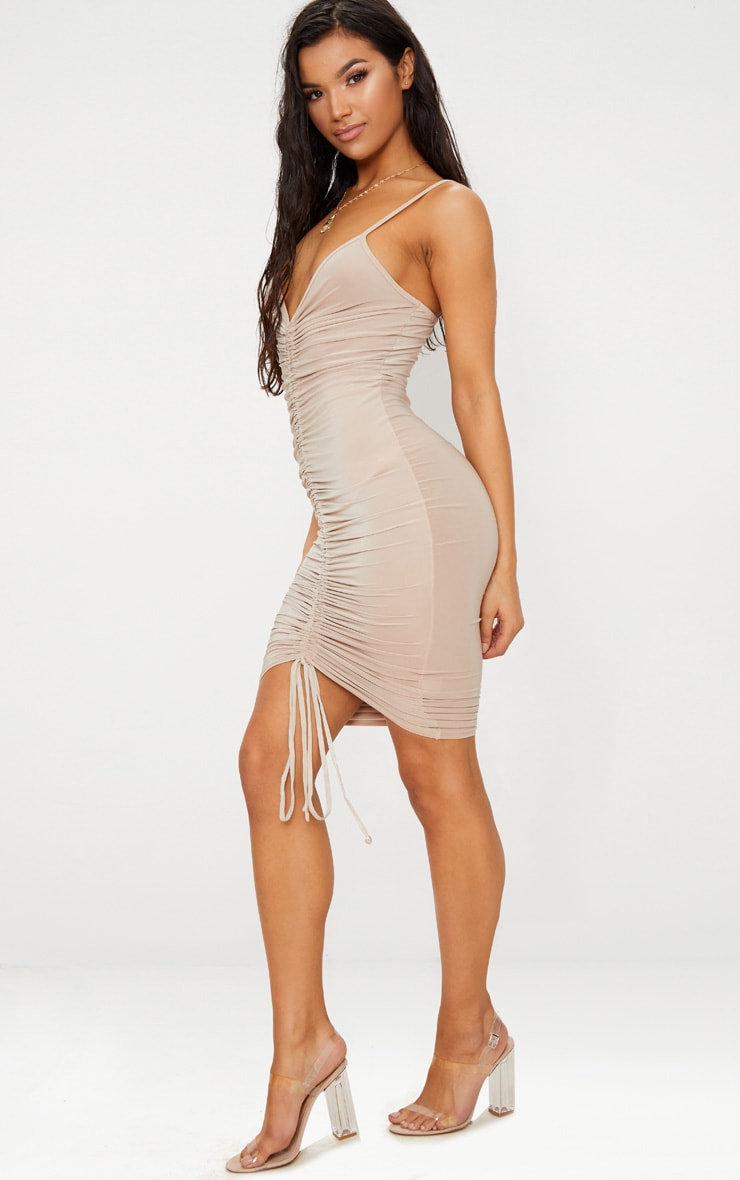 Lucie Nude Strappy Ruched Midi Dress 4