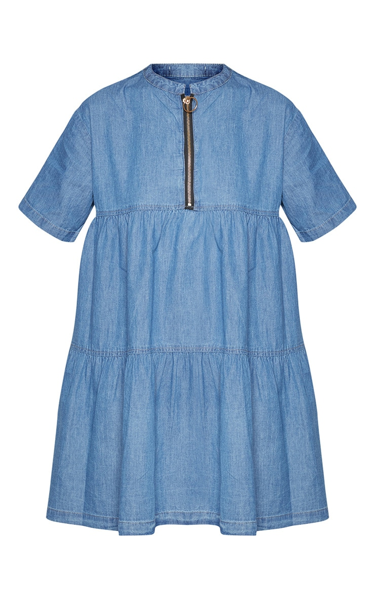 Mid Wash Chambray Tiered Smock Dress 3