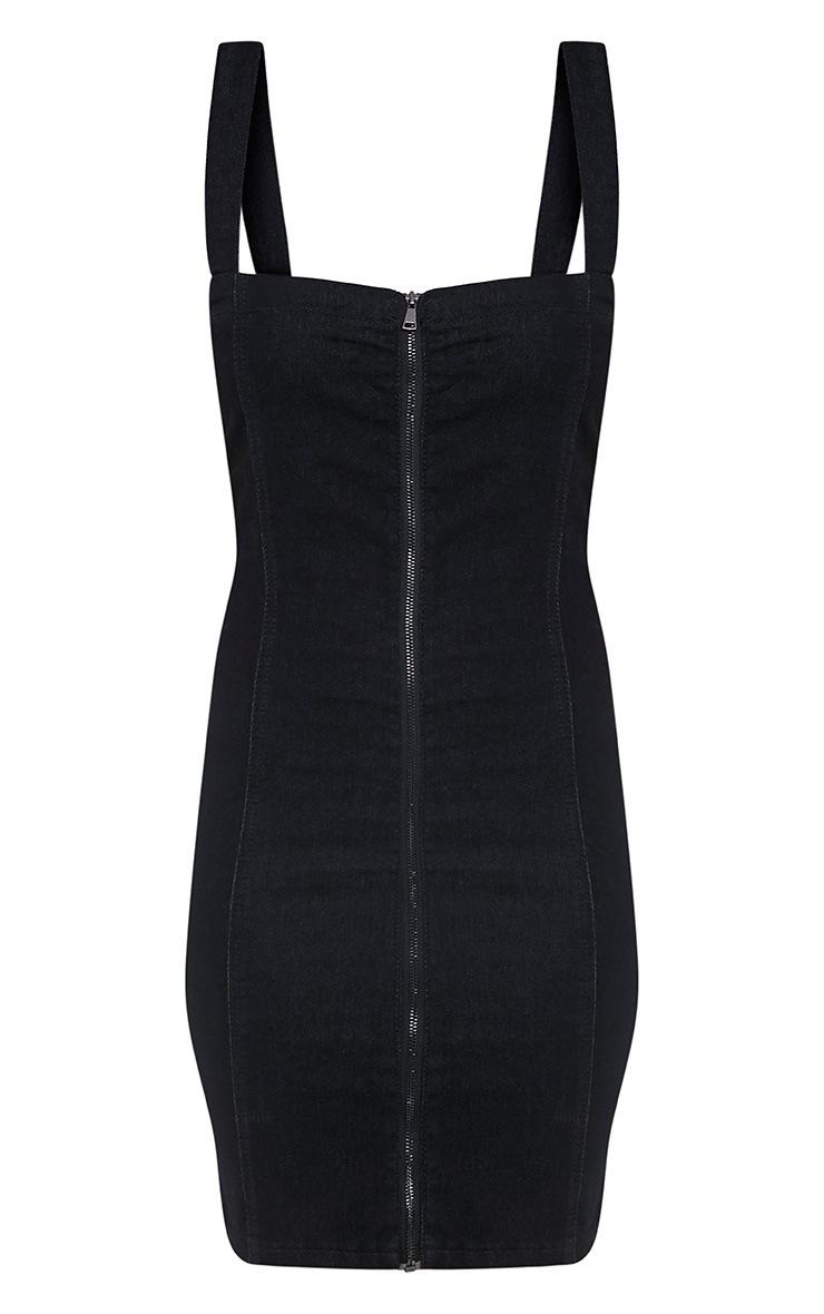 Alexae Black Denim Front Zip Fitted Body Con Dress 3