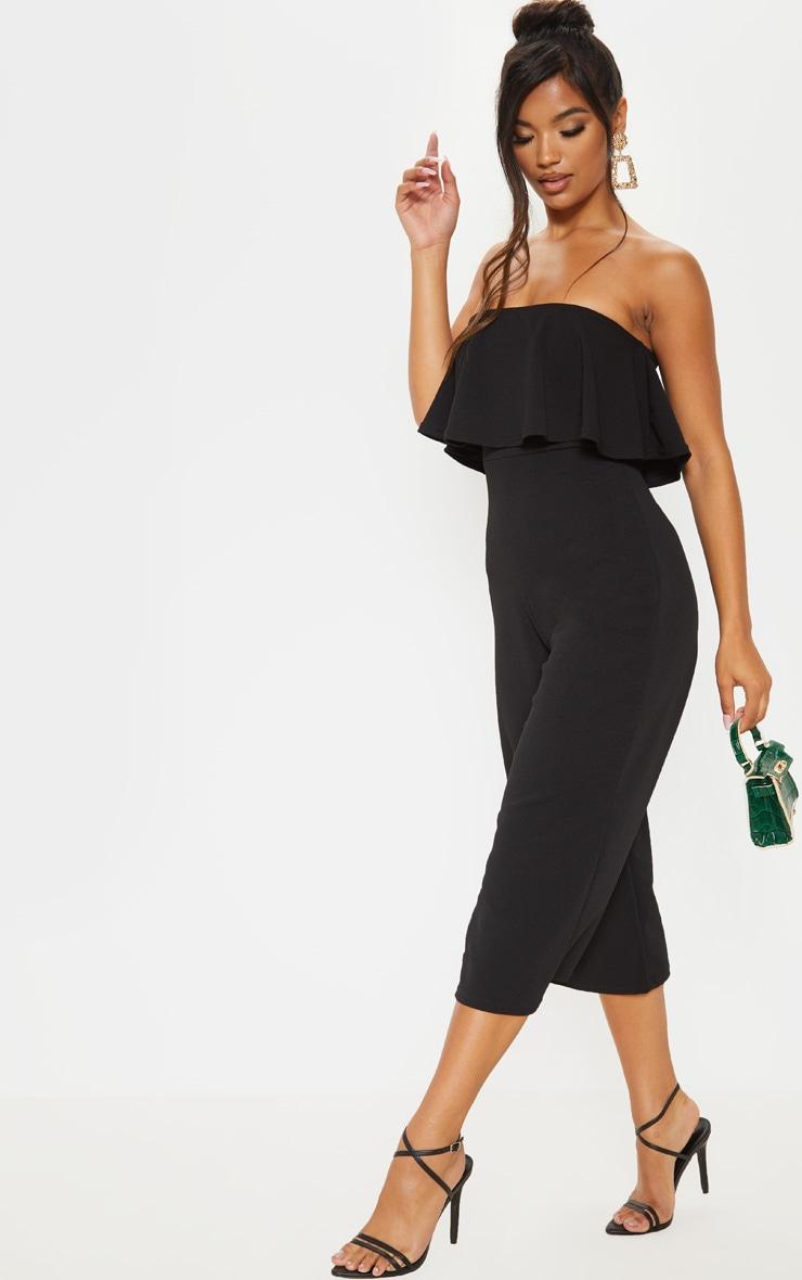 Black Bardot Double Layer Culotte Jumpsuit 4