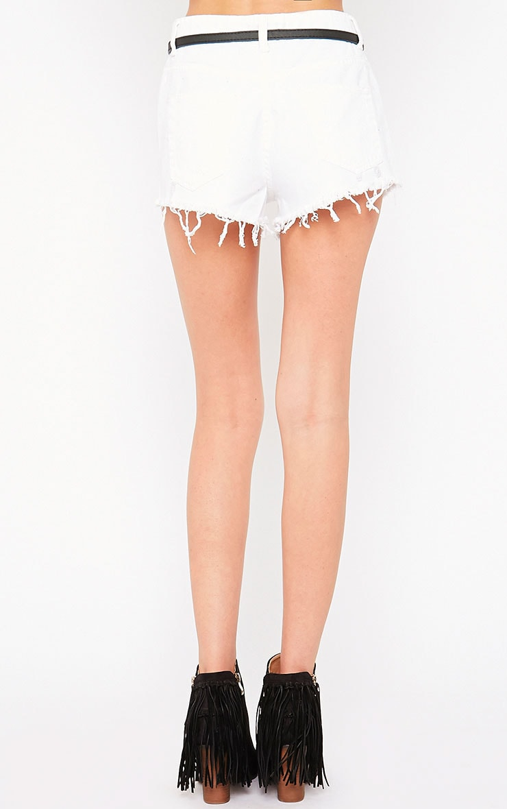 Shylah White Ripped Hotpants 4