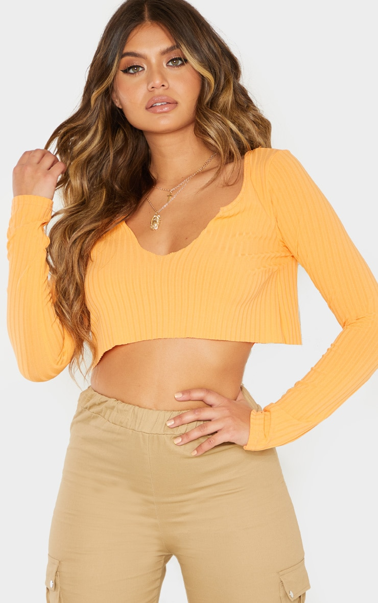 Peach Long Sleeve Rib Raw V Crop Top 1
