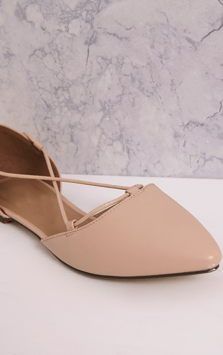 Vienna Nude Faux Leather Lace Up Ballet Flats 5