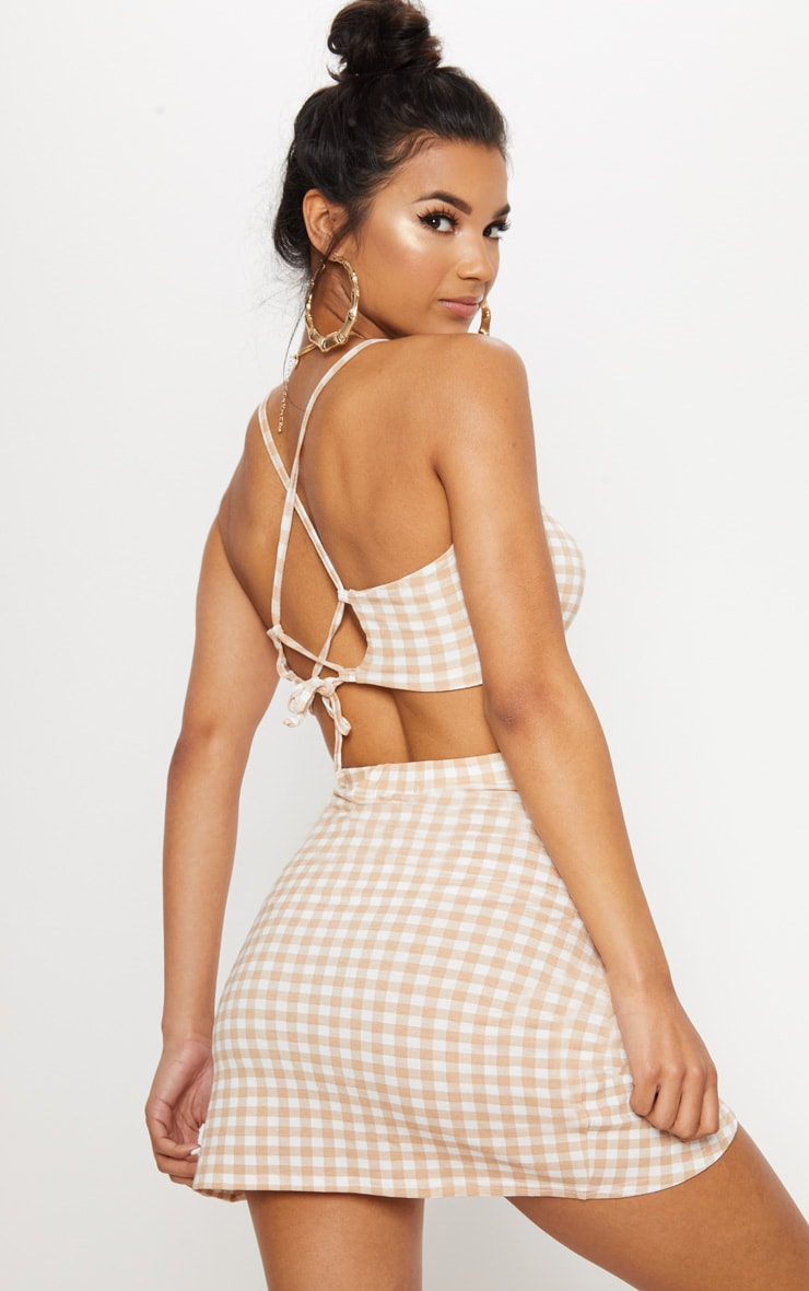 Nude Gingham Jersey Square Neck Bralet 2