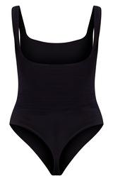 Black Second Skin Square Neck Sleeveless Thong Bodysuit  6