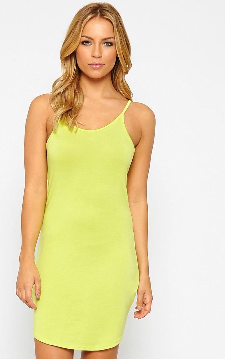 Basic Lime Jersey Mini Dress 1