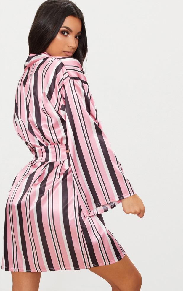 Pink Striped Satin Robe 2