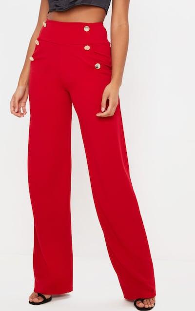 Red Button Front Wide Leg Trouser