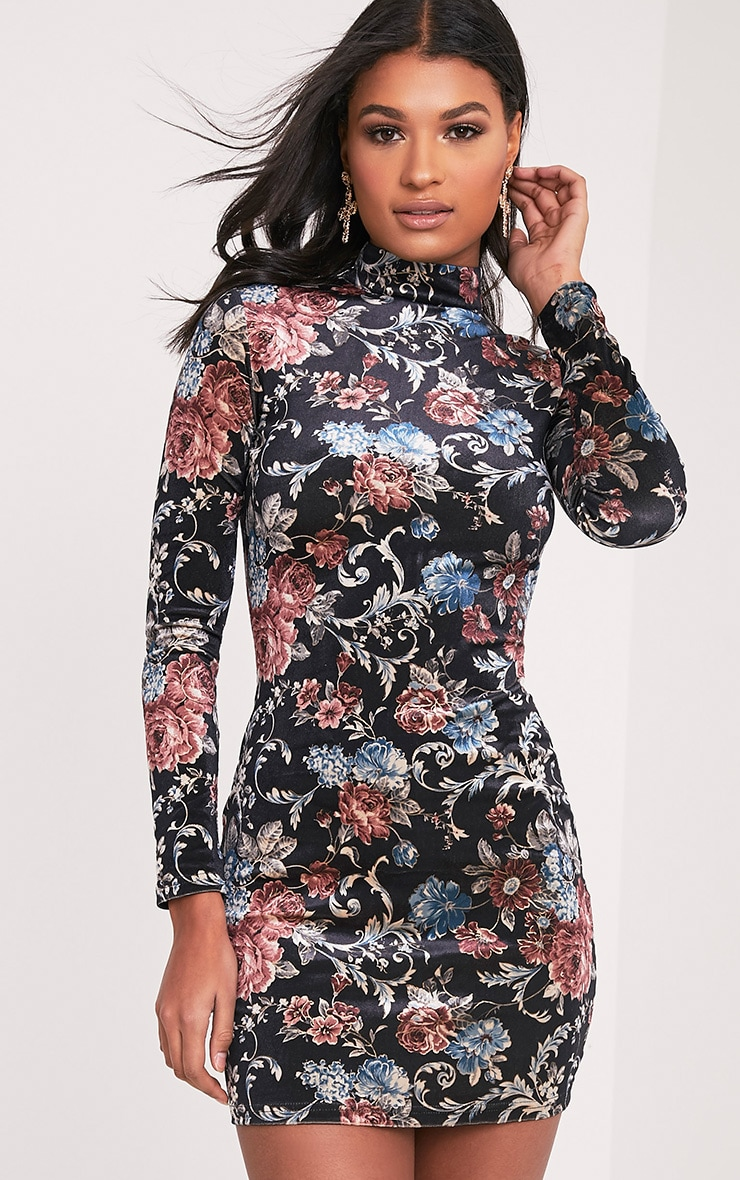 Kirah robe moulante noire en velours col montant à imprimé floral 1