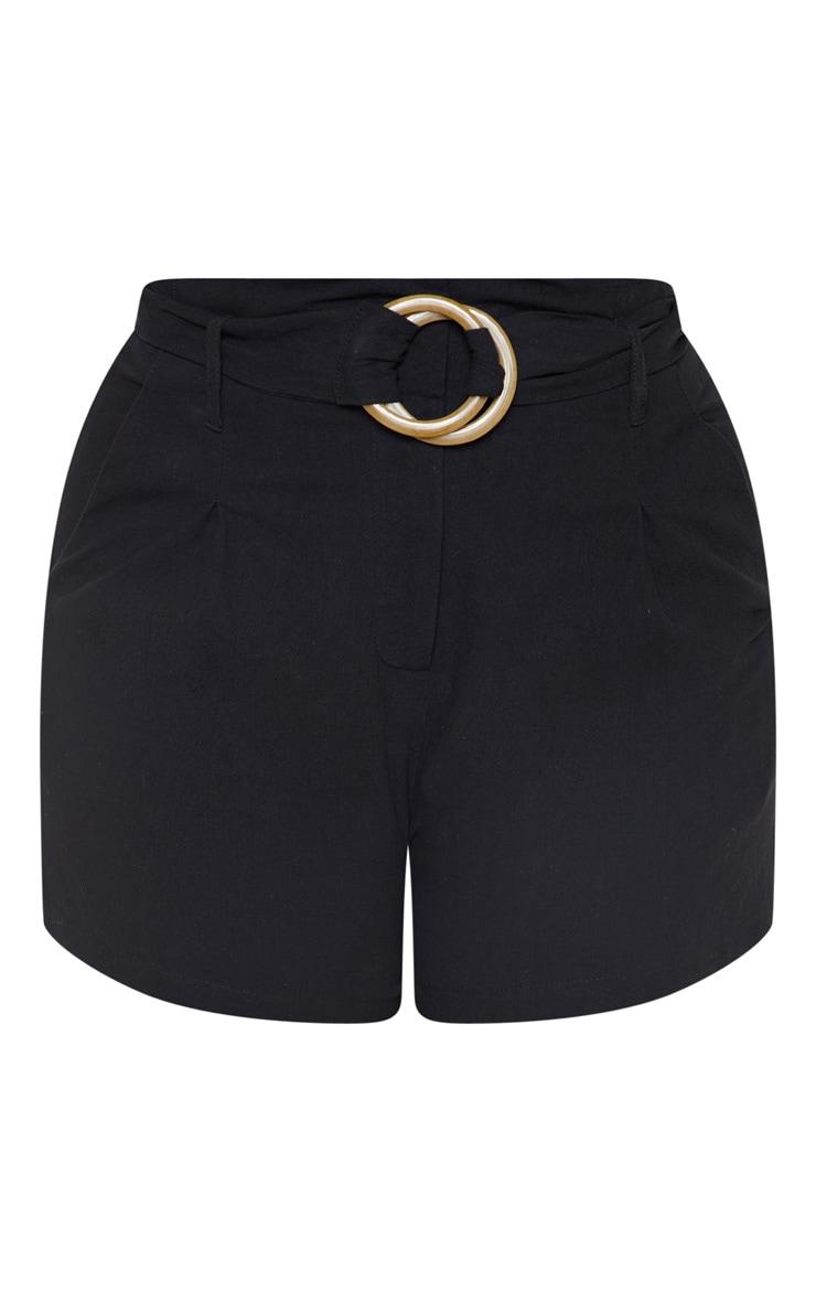 Plus Black Woven Belt Detail Shorts 3