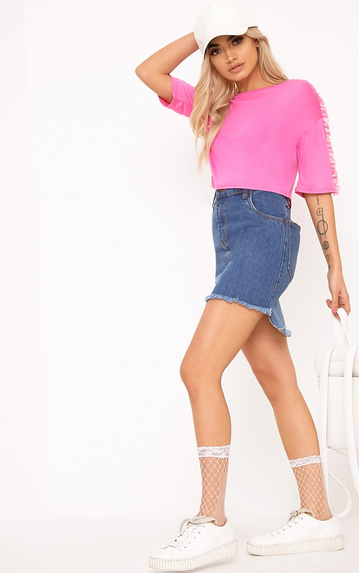 Hot Pink Mesh Tulle Frill T Shirt 4